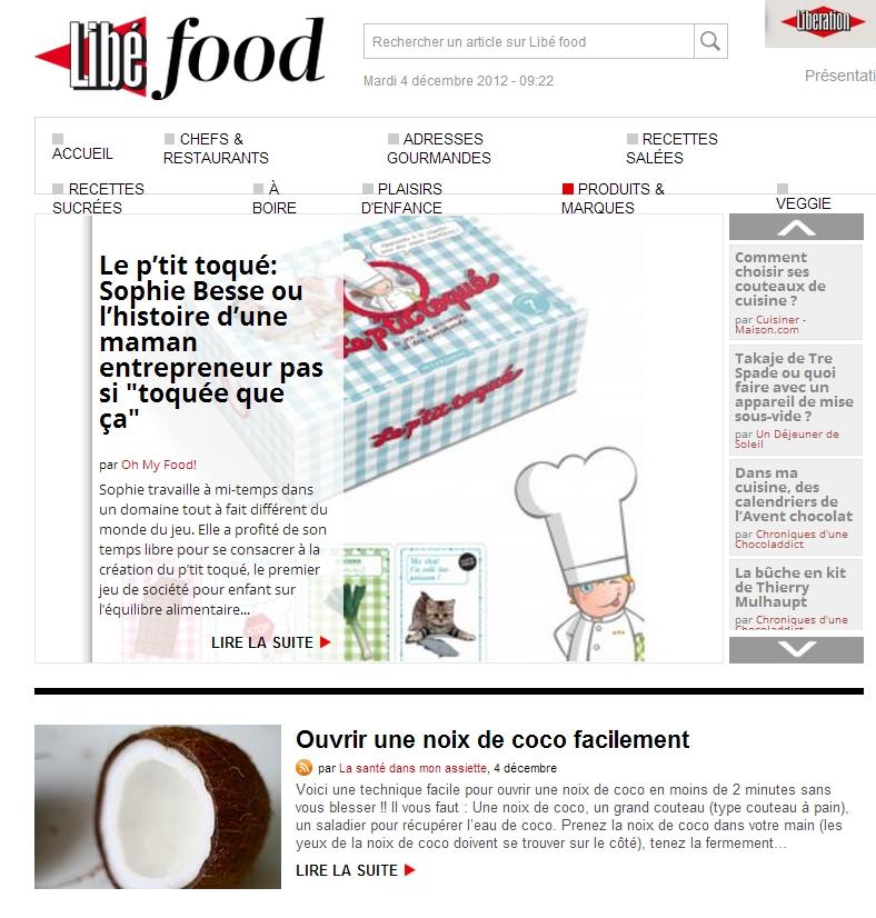 libefood 04 décembre 2012 Revue de presse