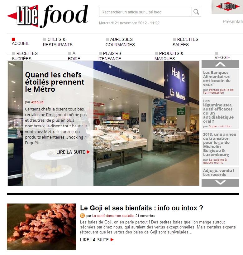 libefood 21 novembre 2012 Revue de presse