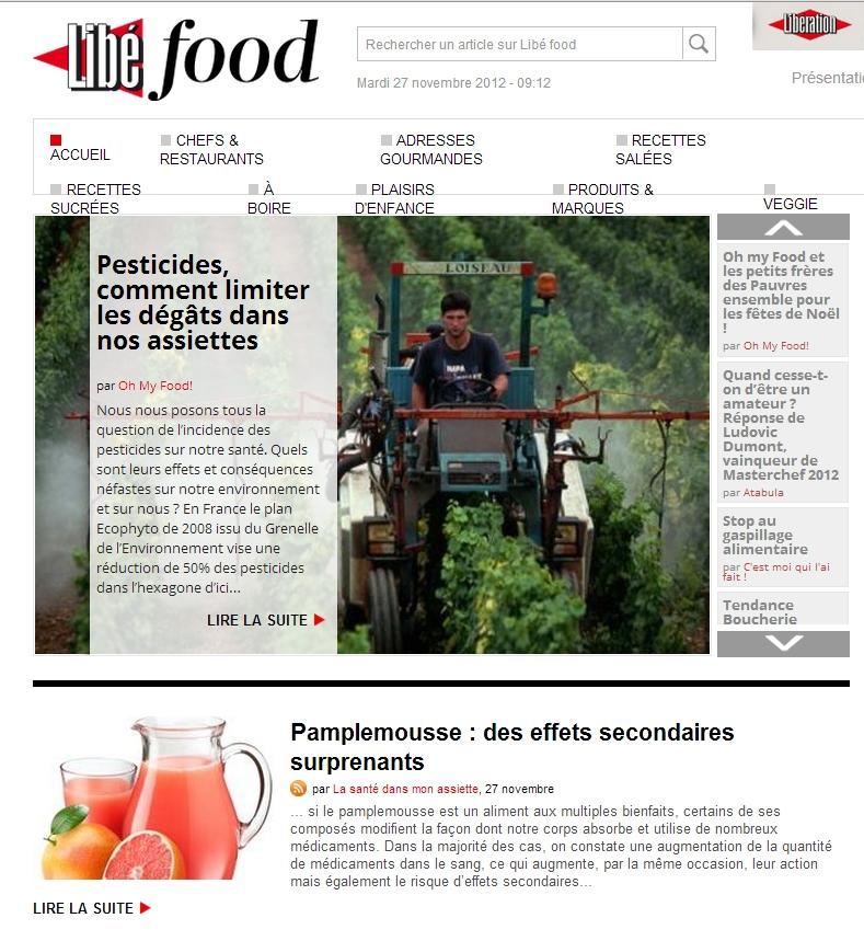libefood 27 novembre 2012 Revue de presse